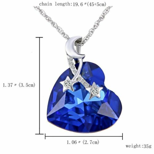Women/'s Fashion Silver Chain Zircon Blue Crystal Pendant Necklace Jewelry Gift