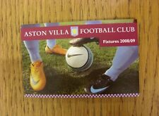 2008/2009 Aston Villa: fixture list, Pieghevole Stile, Dimensione Carta di credito. grazie fo