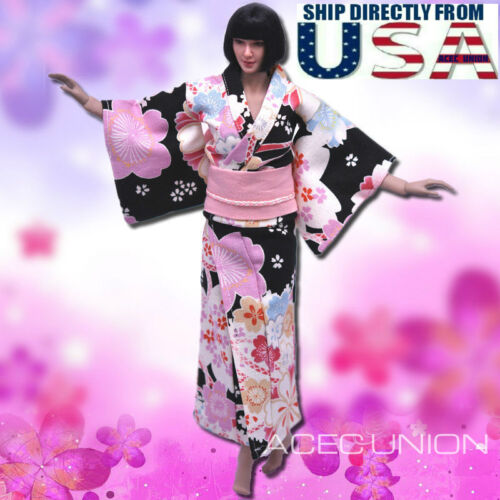 "SELLER 1//6 Women Kimono Dress BLACK For 12/"" Phicen Hot Toys Female Figure U.S.A"