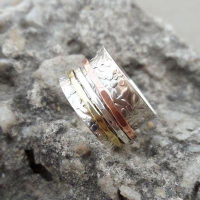 Solid 925 Sterling Silver Spinner Ring Meditation Statement Ring Size sr24490