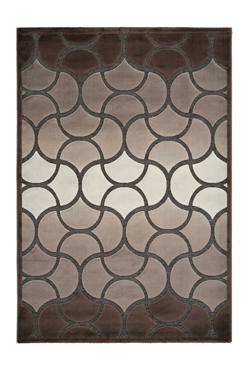 Moderne Tapis classique BRILLANCE LUREX 3d Design Beige Marron Crème 120x170cm