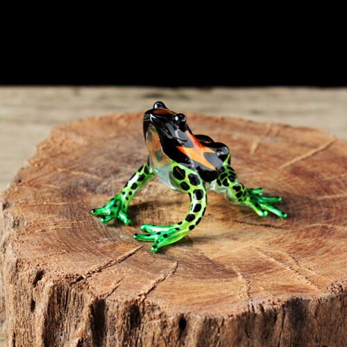 Frog Hand Blown Glass Miniature Figurine Collectibles Decor Hand Painted Charm