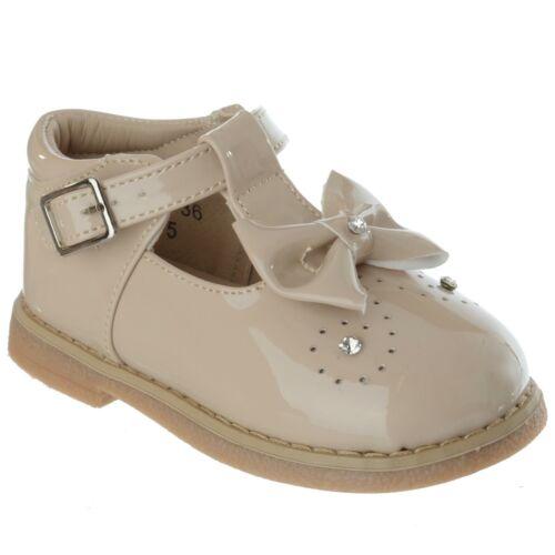 Nuevo Bebé Niñas Niños Toddler T Bar Diamante Arco Hebilla de patentes Plana Zapatos Talla