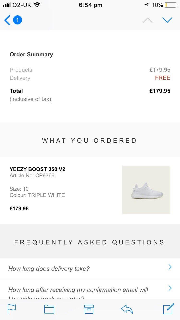 Adidas Yeezy Boost 350 V2 Size UK 10  us 10.5 - Triple White