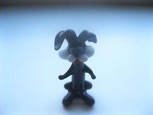034-New-Miniature-Hand-Blown-Glass-Figurine-Russian-Murano-Art-Black-Hare-Animal-034