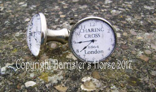 LONDON STATION CLOCKS CUPBOARD DOOR DRAWER KNOBS HANDLES SILVER METAL//GLASS