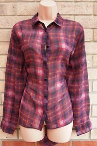 PRIMARK-YELLOW-PINK-PURPLE-CHECK-TARTAN-CHIFFON-BUTTONED-T-SHIRT-TOP-BLOUSE-10