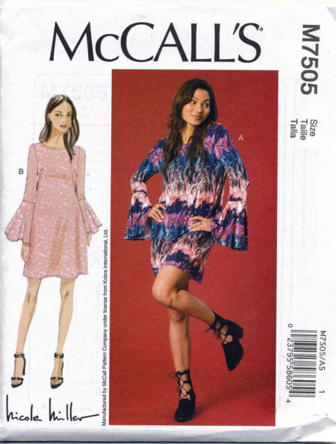 MCCALL S SEWING PATTERN 7505 MISSES 14-22 LOOSE-FITTING DRESS W  TRUMPET  SLEEVES b738f645b
