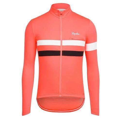 Rapha Brevet Cycling Jersey Long Sleeved  Coral Size Large BNWT