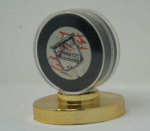 Wayne-Gretzky-Used-And-Autographed-New-York-Rangers-Warm-Up-Hockey-Puck