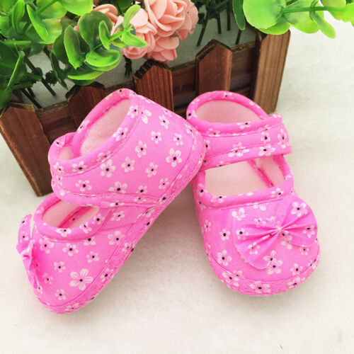 Newborn Baby Kids Girls Floral Bowknot Printed Hook Soft Sole Flat Crib Shoes