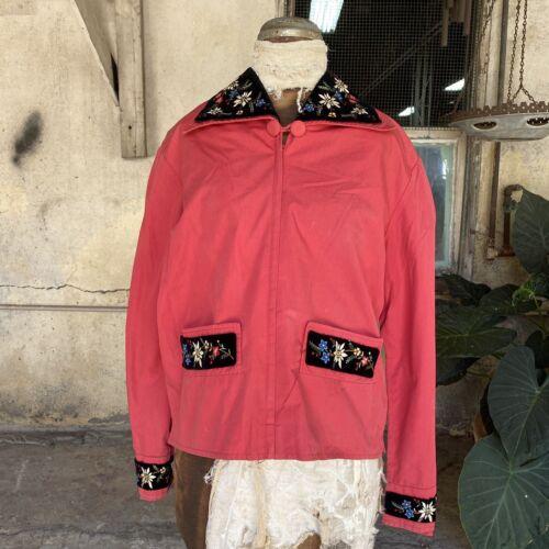 Vintage 1930s 1940s Pink Cotton Peasant Jacket Emb
