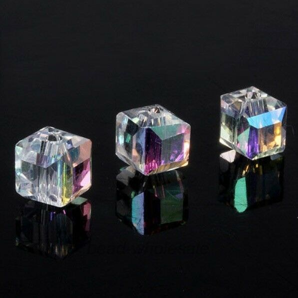 20pcs DIY Jewelry Glass Crystal Cube Beads Spacer 6x6x6mm For Craft Making