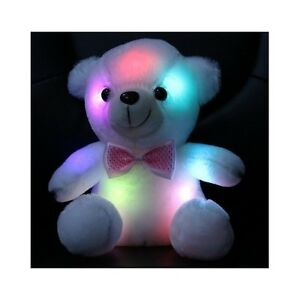 LED Teddy Bear Toy Kids 8in Night Light Stuffed Animal White Toddler Snuggie NEW