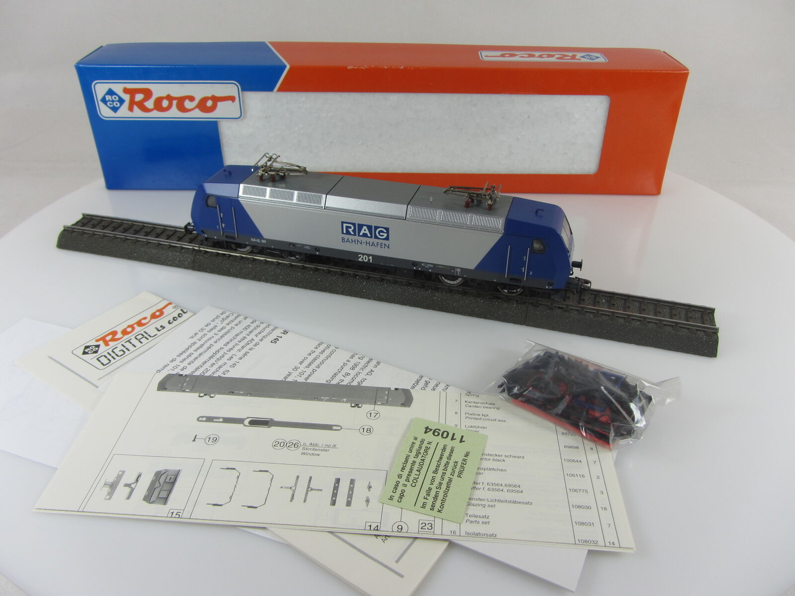 ROCO 69565 elektrolokomotive 145-cl201 della Rag ferrovia Porto Digital e con imballo originale