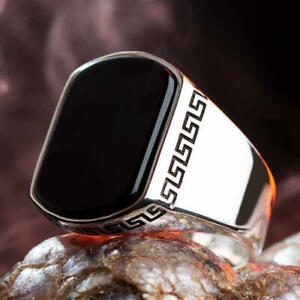Solid-925-Sterling-Silver-Men-039-s-Ring-with-Black-Onyx-Stone