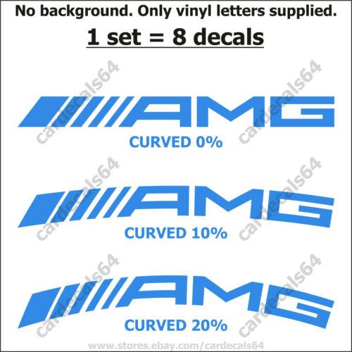 8 X AMG Mercedes Benz Brake Caliper Decal Sticker Emblem Logo Curved High Temp I