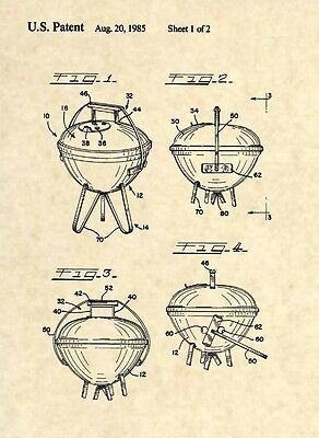 Official Weber Grill US Patent Art Print Barbeque BBQ Charcoal Propane Gas 343