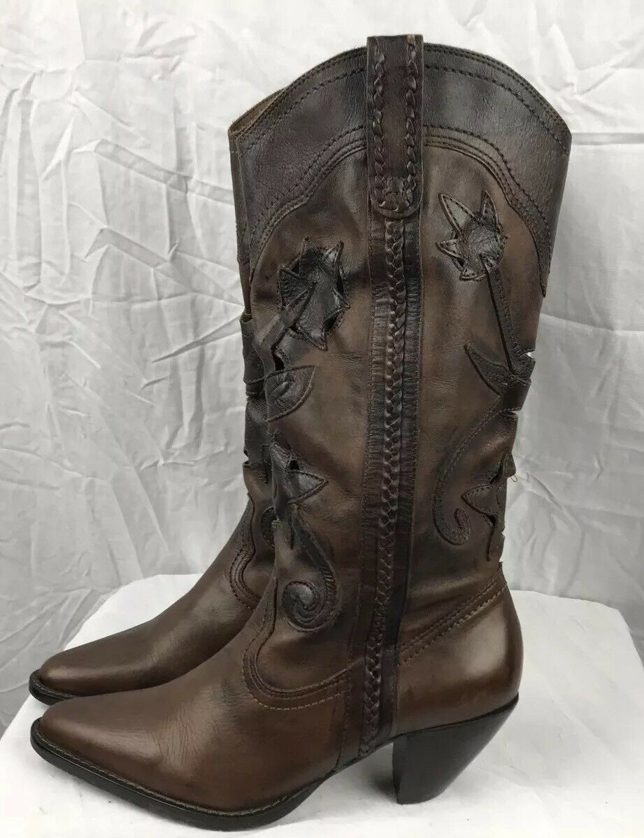 Santa Fe Womans 8B Brown Leather Cowboy Boots