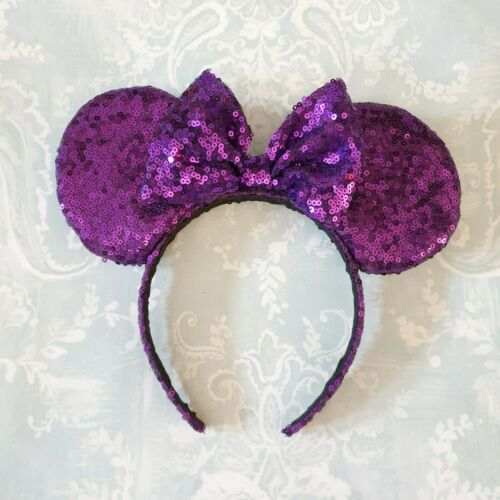 Mickey Mouse Disney Ears all one colour sequin green yellow purple baby pink bow