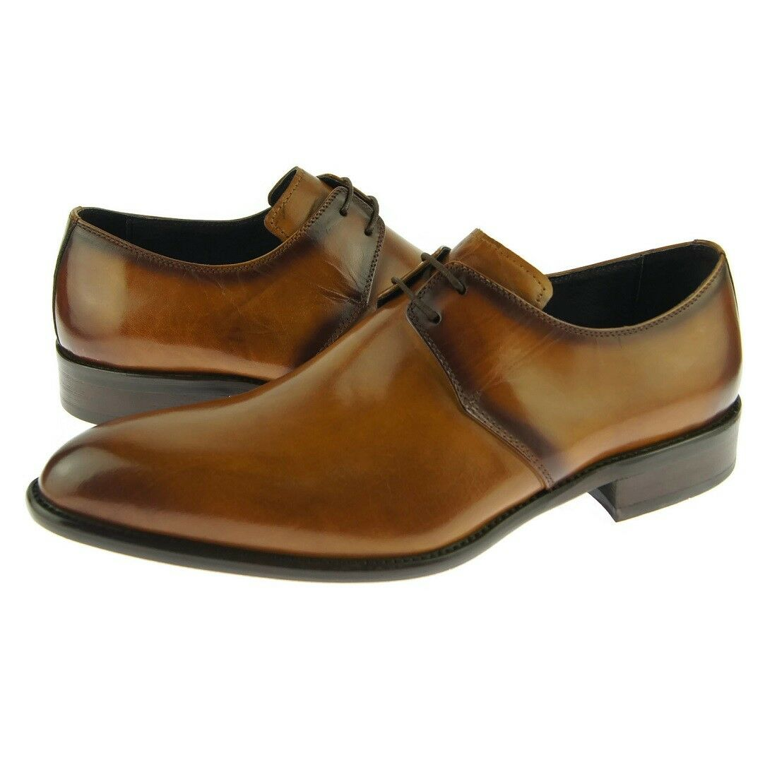 Carrucci Plain Derby, Men's Dress Leather shoes, Cognac