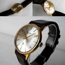 Vintage Soviet Raketa Gold Plated Men's Beautiful Dress Mechanical Watch 1960's