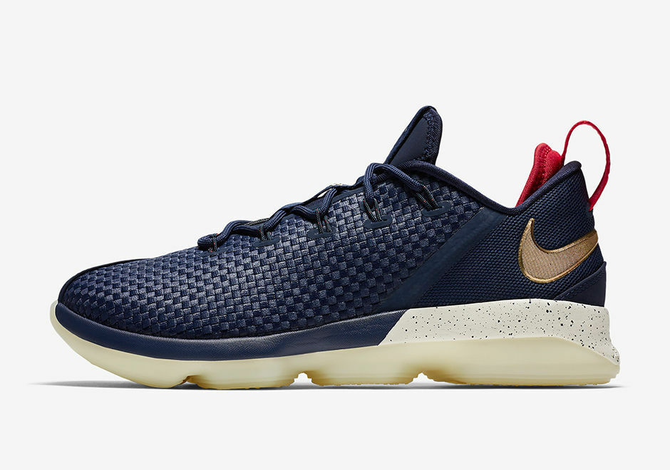 New Nike Men's Lebron XIV 14 Low USA Shoes Price reduction  Mid Navy//Red-Mtlc Gold