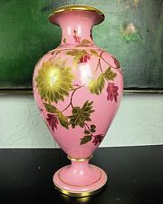 "Large pink antique 13""  Victorian Staffordshire pottery URN VASE. Gold flowers."