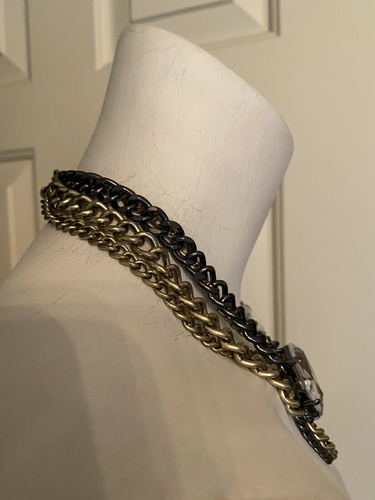 Beautiful Multi Chain & Crystal Necklace - image 2