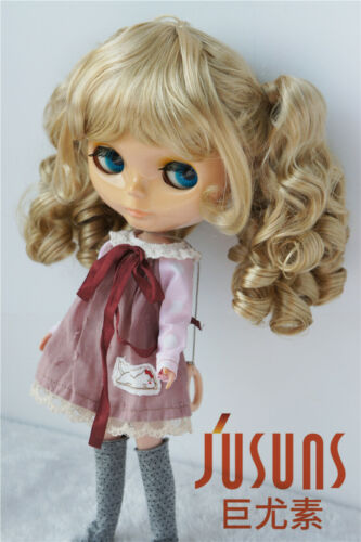 9-10inch Twin Long Wave Ponytail BJD Wig Blythe Size Synthetic Mohair Doll Hair