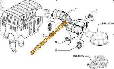 MANICOTTO ASPIRAZIONE FILTRO ARIA PER 7751361 FIAT PANDA 900 141