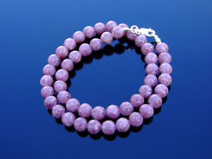 Lepidolite-Natural-Gemstone-Necklace-8mm-Beaded-Silver-16-30inch-Healing-Stone