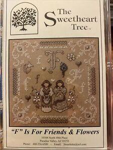 F Is For Friend & FlowerS Cross Stitch Kit Sweetheart Tree Retired 28 Linen