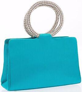 Turquoise Strass Judith Sac Bracelet Satin À Leiber Soie Zz Soirée Bleu Main 8Sap0px1n