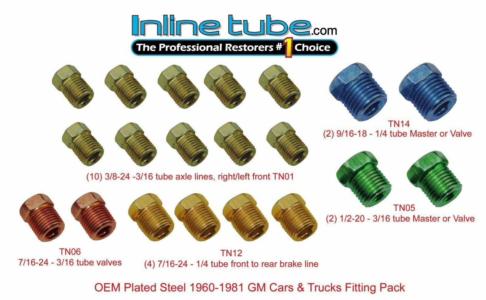 4 Unions 8 Nuts 5//8-18 Inverted Threads Minimprover 12 PCS Brass Inverted Flare Brake Line Assortment Automotive Brake Line Systems Fitting For 3//8 Tube