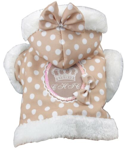 Polka-Dot Couture-Bow Designer Fashion Pet Dog Hooded Hoodie Sweater Clothes