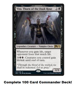 MTG Commander EDH Deck Vito Thorn of the Dusk Rose 100 Cards Custom Deck Black