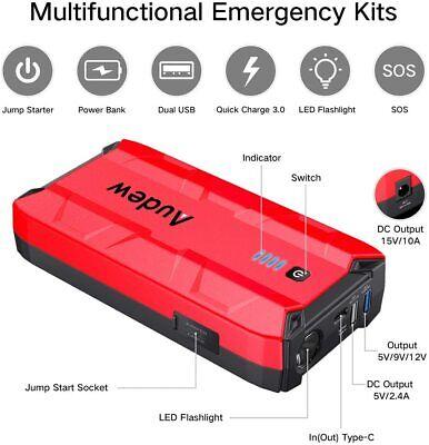 1000A Peak Portable Car Jump Starter Auto Battery Booster Power Bank w//USB Ports