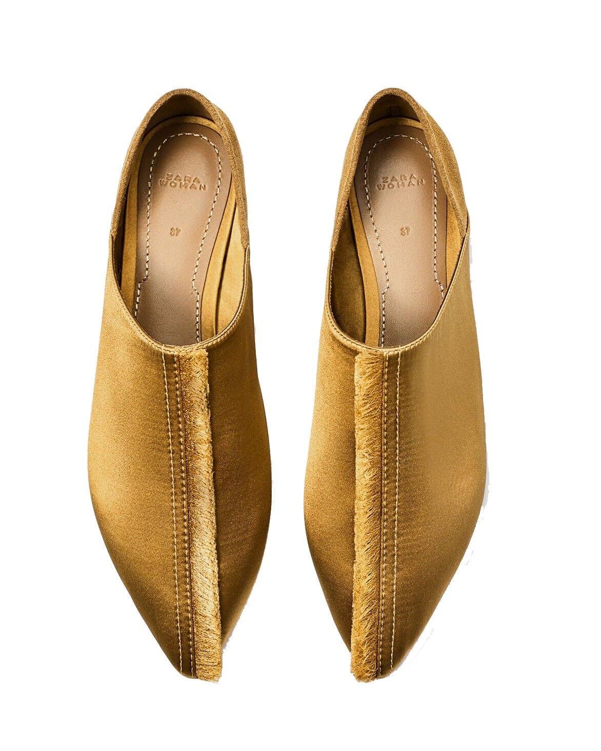 Zara oro Satinado Deshilachado Árabe Zapatillas Tamaño de pisos 6.5 6.5 6.5 EU 37 Nuevo con etiquetas  mejor calidad