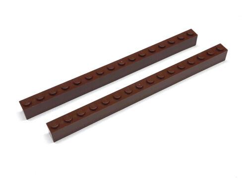 6258989 pieza de Lego 1 x 16 de color marrón-rojizo 2 unidades nuevo