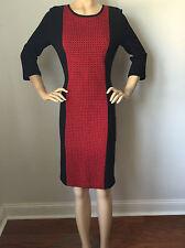 NEW  ST JOHN KNIT 14 WOMENS DRESS RED FIREFOX & BLACK COLOR BLOCK  WOOL RAYON