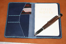 Handmade Leather Cover Field Notes Card Horween Chromexcel Cobalt Blue