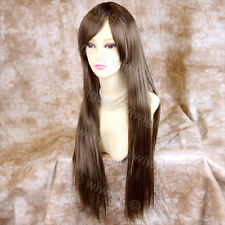 Wiwigs Long Light Brown Straight Skin Top Heat Resistant Ladies Wig
