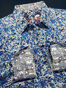 Robert-Graham-XL-Shirt-Mens-Rainbow-Scales-Geometric-Long-Sleeve-New-198