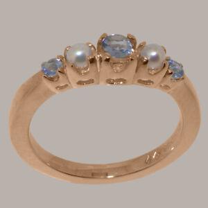 Solid-18k-Rose-Gold-Natural-Tanzanite-amp-Full-Pearl-Womens-band-Ring