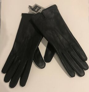 GII-Size-XL-Genuine-Deep-BROWN-Leather-Gloves-BLACK-Warm-Polyester-Lining