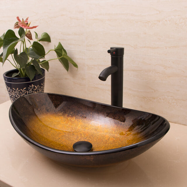 Oval Tempered Glass Bathroom Vessel Sink Oil Rubbed Bronze Faucet Drain Combo