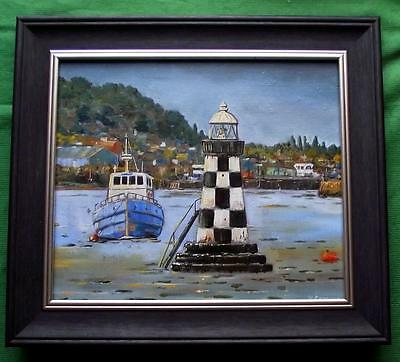 River Clyde Perch Light Glasgow : Original Marine Oil Painting by Kevin Corroue