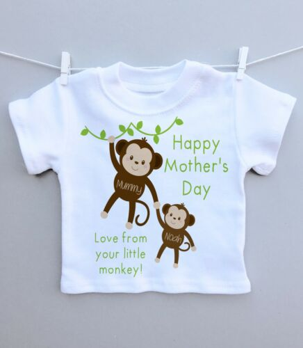 Personalised baby or childs t-shirt top 1st mothers day mummy monkey cute gift