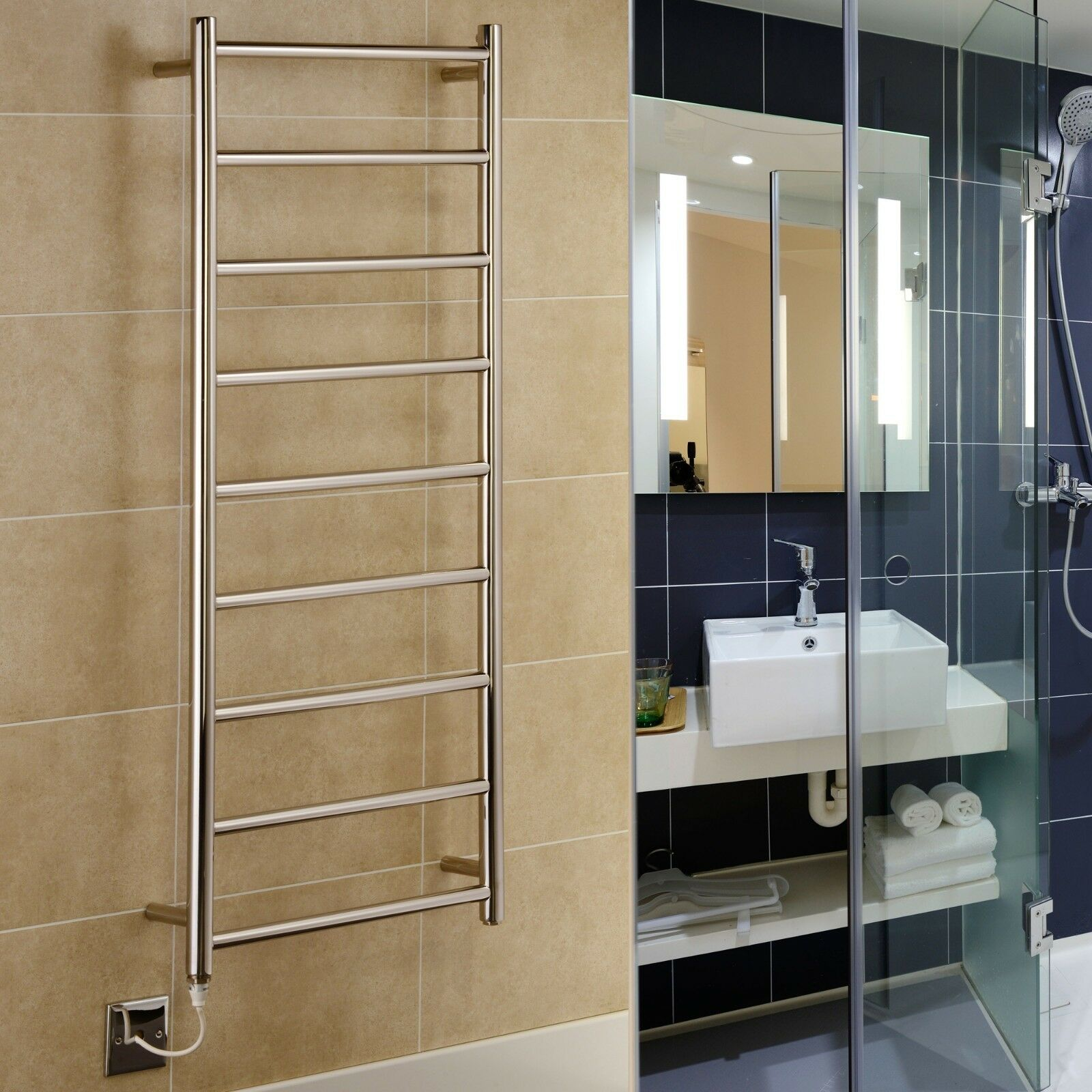 New Davos Electric Stainless Steel Towel Rails Widths  500mm 600mm